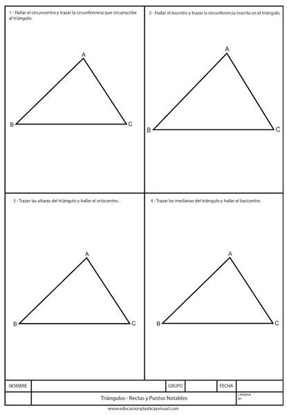 Lámina de Triángulos (Rectas y Puntos) Dibujo Técnico
