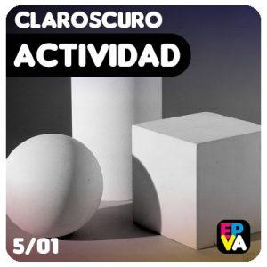 Actividad: fichas de claroscuro con bodegón de cuerpos geométricos.