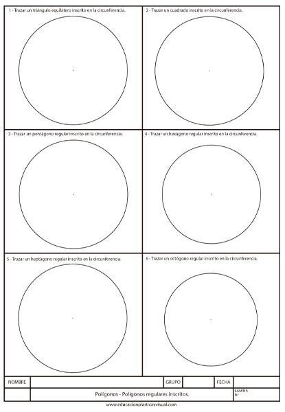 Ficha de Polígonos inscritos en una circunferencia.