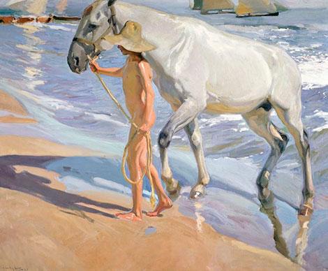 El baño del caballo (1909), pintura de Soroya