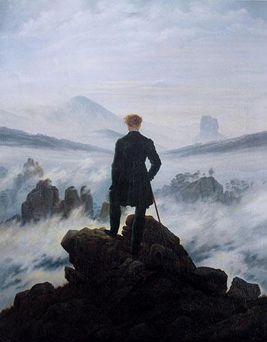 El caminante sobre el mar de nubes, obra de Caspar David Friedrich