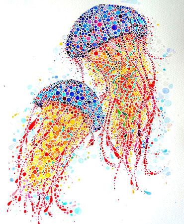 Medusas dibujadas por agrupación de puntos
