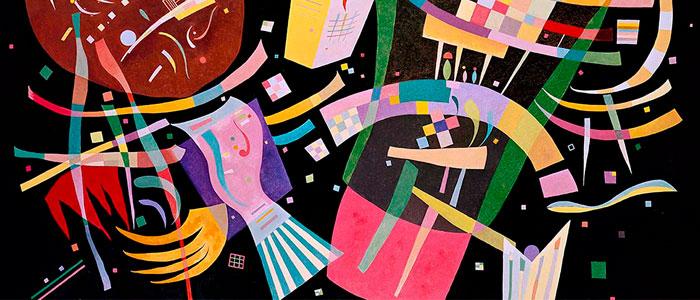 Fragmento de obra de Kandinsky compuesta por puntos, rectas y planos