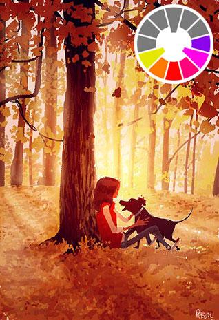Ilustración con gama de colores cálidos.
