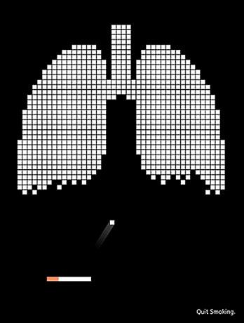 Imagen exhortativa de campaña publicitaria antitabaco.