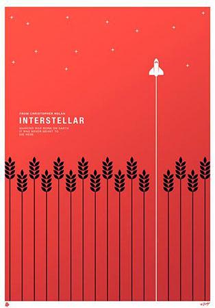 Cartel Interstellar con principio de continuidad de la Gestalt