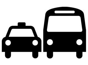 Iconos de trasnporte con relación de formas de distanciamiento.