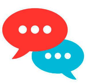 Iconos chat con relación de formas por superposición