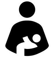 Icono madre y bebe. Relación de formas por sustracción