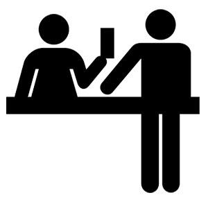 Icono de mostrador con relación de formas por unión
