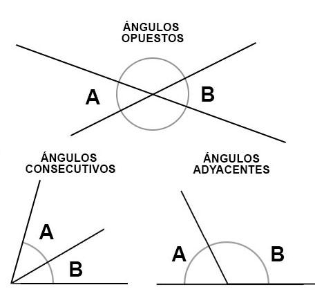 Relaciones entre ángulos según su posición: adyacentes, opuestos y consecutivos.