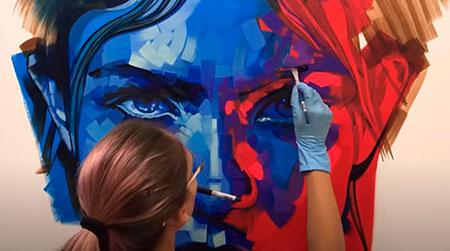 Retrato con pintura acrílica